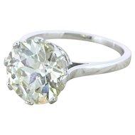 Art Deco 4.12 Carat Old European Cut Diamond Engagement Ring, French, circa 1935