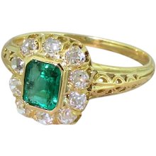 Art Nouveau 0.55 Carat Colombian Emerald & Old Cut Diamond Ring, French, circa 1915