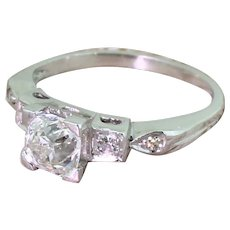 Art Deco 0.94 Carat Old Cut Diamond Engagement Ring, circa 1930