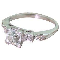Art Deco 0.94 Carat Old Cut Diamond Engagement Ring, circa 1930