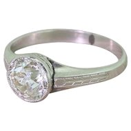 Art Deco 1.69 Carat Old Cut Diamond Engagement Ring, circa 1920