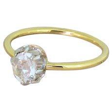 Edwardian 0.50 Carat Rose Cut Diamond Solitaire Ring, circa 1905