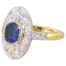 Edwardian 1.19 Carat Sapphire & 1.01 Carat Old Cut Diamond Cluster Ring, circa 1910