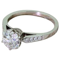 Art Deco 1.39 Carat Old European Cut Diamond Engagement Ring, circa 1935