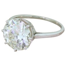 Art Deco 4.45 Carat Old European Cut Diamond Engagement Ring, circa 1940