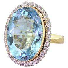 Retro 16.92 Carat Aquamarine & Rose Cut Diamond Cluster Ring, circa 1945