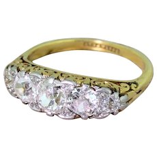 Edwardian 2.50 Carat Old Cut Diamond Five Stone Ring, circa 1905