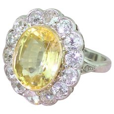 Retro 7.71 Carat Natural Ceylon Yellow Sapphire & Old Cut Diamond Ring, circa 1945