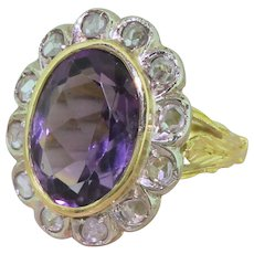 Art Deco 5.00 Carat Amethyst & Rose Cut Diamond Cluster Ring, circa 1930