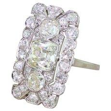 Art Deco 3.05 Carat Old Cut Diamond Plaque Ring, circa 1920