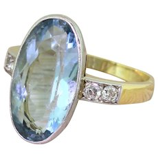 Art Deco 6.50 Carat Oval Cut Aquamarine Solitaire Ring, circa 1935