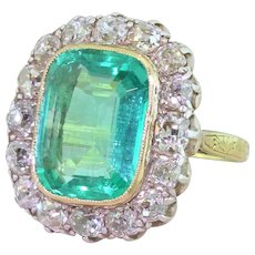 Edwardian 6.00 Carat Minor Oil Colombian Emerald & Old Cut Diamond Ring, circa 1910