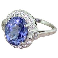 F & F FELGER 6.35 Carat Natural Sapphire & Diamond Cluster Ring, American, circa 1940
