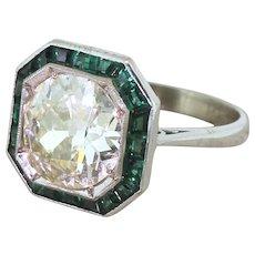 Art Deco 2.91 Carat Old Cut Diamond & Calibré Cut Emerald Engagement Ring, circa 1930