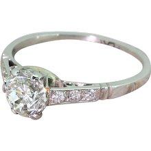 Mid Century 1.02 Carat Transitional Cut Diamond Engagement Ring, circa 1950