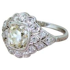 Mid Century 2.79 Carat Old Cut Diamond Cluster Ring, circa 1955