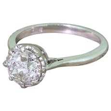Late 20th Century 1.83 Carat Old Cut Diamond Engagement Ring, dated 1977