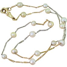 Late 20th Century Natural Saltwater Pearl Chain Necklace, circa 1970