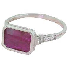 Art Deco 1.75 Carat Emerald Cut Natural No Heat Ruby & Diamond Ring, circa 1940