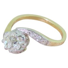 Art Deco 0.92 Carat Old Cut Diamond Crossover Solitaire Ring, circa 1920