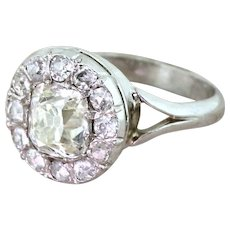 Art Deco 1.69 Carat Old Cut Diamond Cluster Ring, French, circa 1925