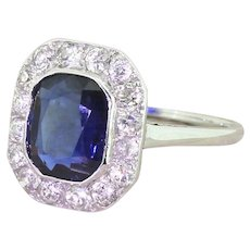 Art Deco 2.50 Carat Sapphire & Old Cut Diamond Ring, Austrian, circa 1930