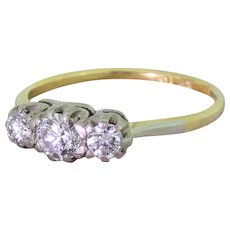 Art Deco 0.65 Carat Transitional Cut Diamond Trilogy Ring, circa 1935