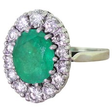 Mid Century 3.00 Carat Emerald & Diamond Cluster Ring, French, circa 1950