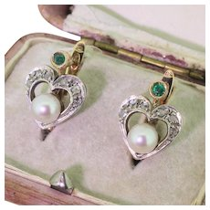 Art Deco Rose Cut Diamond, Emerald & Pearl Heart Earrings, circa 1935