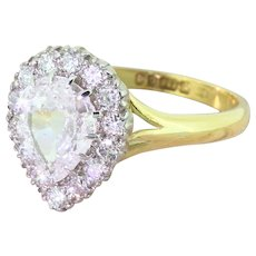 Late 20th Century 1.50 Carat Old Pear Cut Diamond Cluster Ring, dated 1978