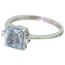 Retro 1.50 Carat Square Emerald Cut Aquamarine Ring, circa 1945