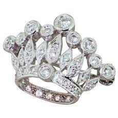 Mid Century 0.50 Carat Diamond Crown Brooch, circa 1955