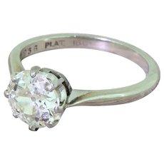Art Deco 1.47 Carat Old European Cut Diamond Engagement Ring, circa 1930