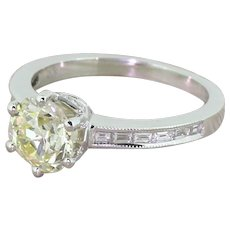 1.56 Carat Fancy Light Yellow Old Cut Diamond Engagement Ring, 18k White Gold