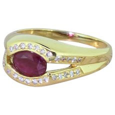 Late 20th Century 0.75 Carat Ruby Split Shank Ring, circa 1965