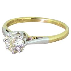 Art Deco 0.60 Carat Fancy Light Yellow Old Cut Diamond Engagement Ring, circa 1920