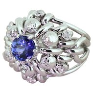 Late 20th Century 1.23 Carat Tanzanite & Diamond Cocktail Ring, circa 1975