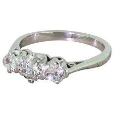 Art Deco 0.80 Carat Old European Cut Diamond Trilogy Ring, circa 1935