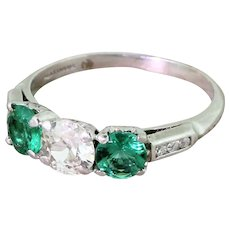 Art Deco 0.65 Carat Old Cut Diamond & Emerald Trilogy Ring, circa 1920
