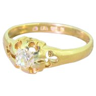 Victorian 0.40 Carat Old Cut Diamond Solitaire Ring, dated 1880