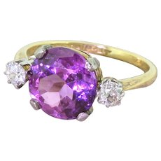 Retro 4.00 Synthetic Purple Sapphire & Diamond Ring, dated 1942