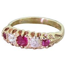 Victorian Ruby & Old Cut Diamond Five Stone Ring, circa 1890