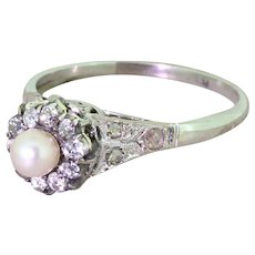 Art Deco Natural Pearl & Old Cut Diamond Cluster Ring, circa 1930