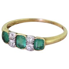 Edwardian Emerald & Old Cut Diamond Trilogy Ring, circa 1905