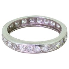Art Deco 1.04ct Eight-Cut Diamond Platinum Full Eternity Ring, French, circa 1925