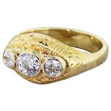 Mid Century 0.75 Carat Old Cut Diamond Trilogy Ring, circa 1950