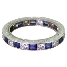 Art Deco Old European Cut Diamond & Sapphire Full Eternity Ring, circa 1940