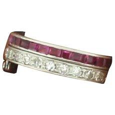 Diamond, Ruby & Sapphire Hinged Full Eternity Ring, Platinum