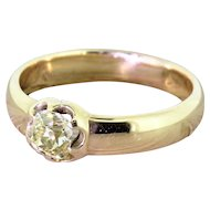 Victorian 0.75 Carat Fancy Light Yellow Old Cut Diamond Solitaire Ring, circa 1900