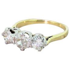 Mid Century 1.78 Carat Old Cut Diamond Trilogy Ring, circa 1965